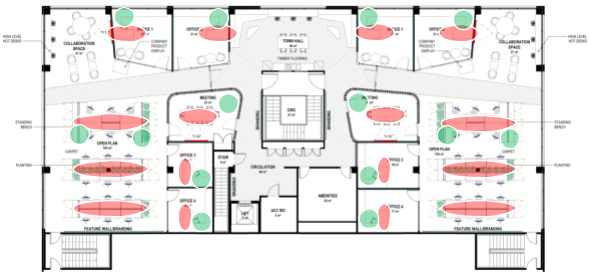 floor plan of a workplace
