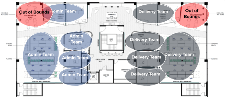 a floor plan marked-up according to teams in the workplace