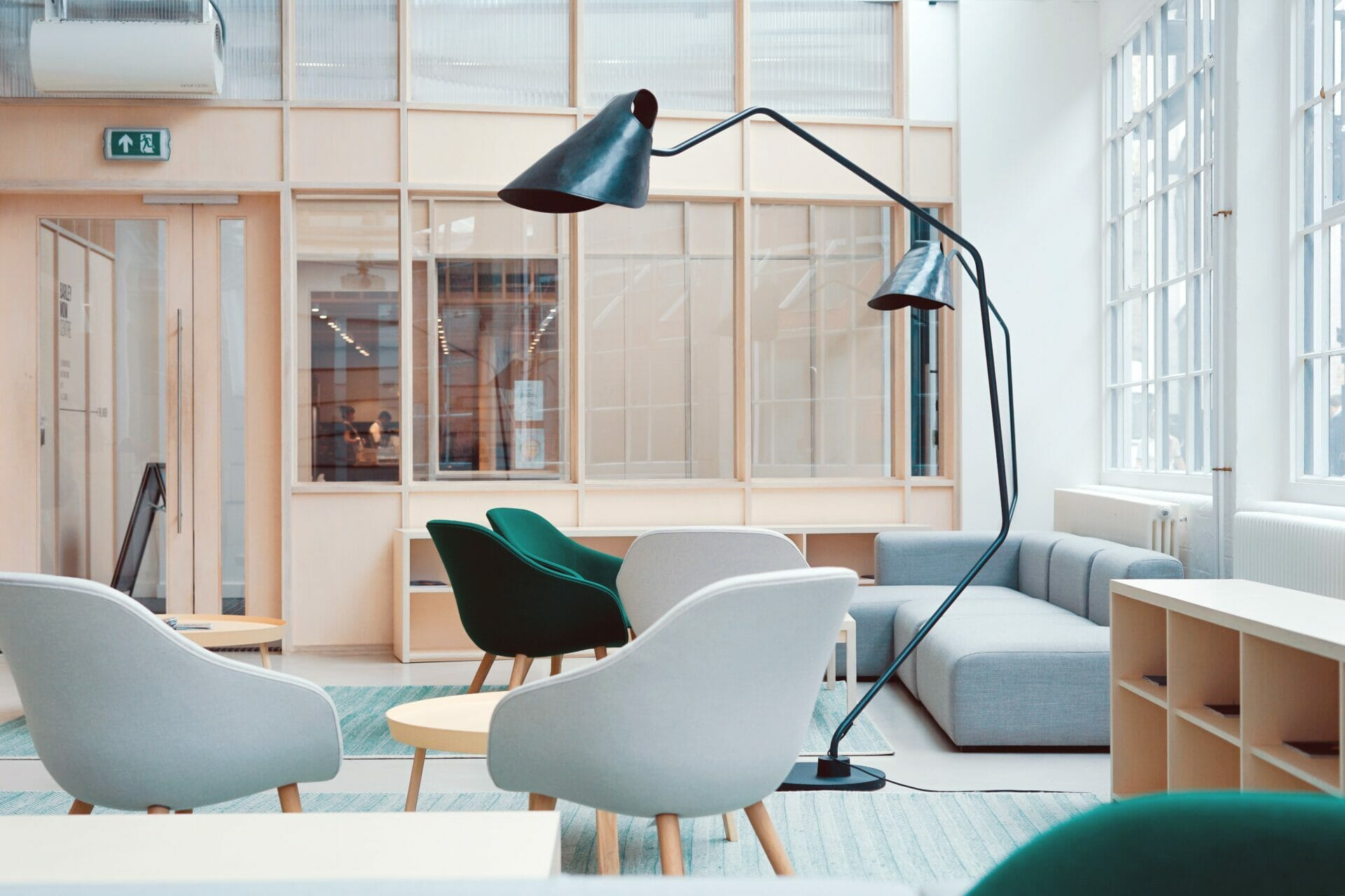 a small office with a beautiful fitout